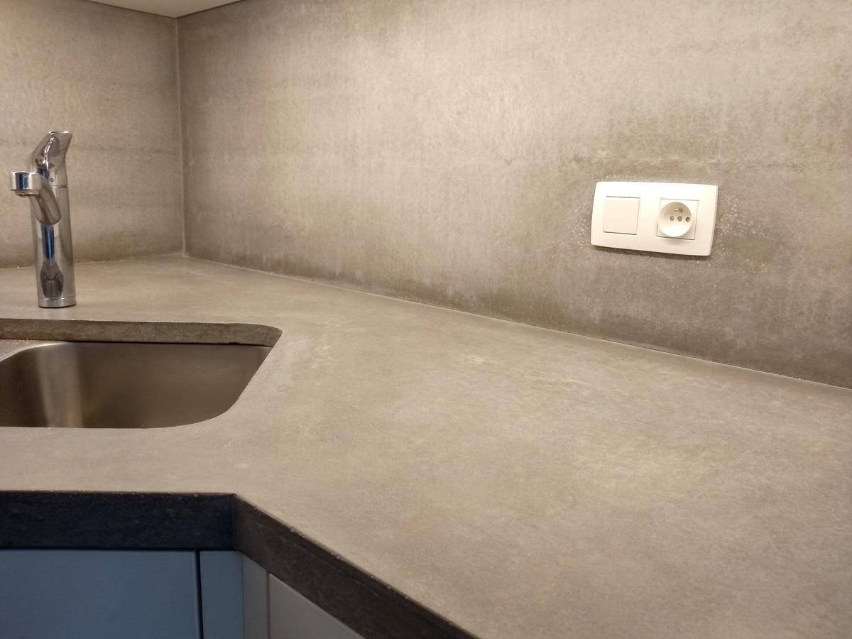 Grijze beton werkblad